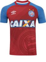 Camisa Aquecimento Bahia Umbro 2017 Azul/Verm