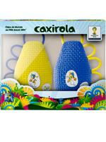 Chocalho Caxirola Dupla FIFA Fuleco Azul e Amarela