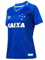 Camisa Feminina Jogo 1 Cruzeiro Umbro 2017 Azul