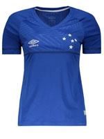 Camisa Feminina Cruzeiro Jogo 1 Umbro 2018 Azul