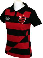 Camisa Polo Feminina Listrada Flamengo Escudo