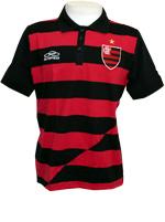 Camisa Polo Listrada Flamengo Escudo