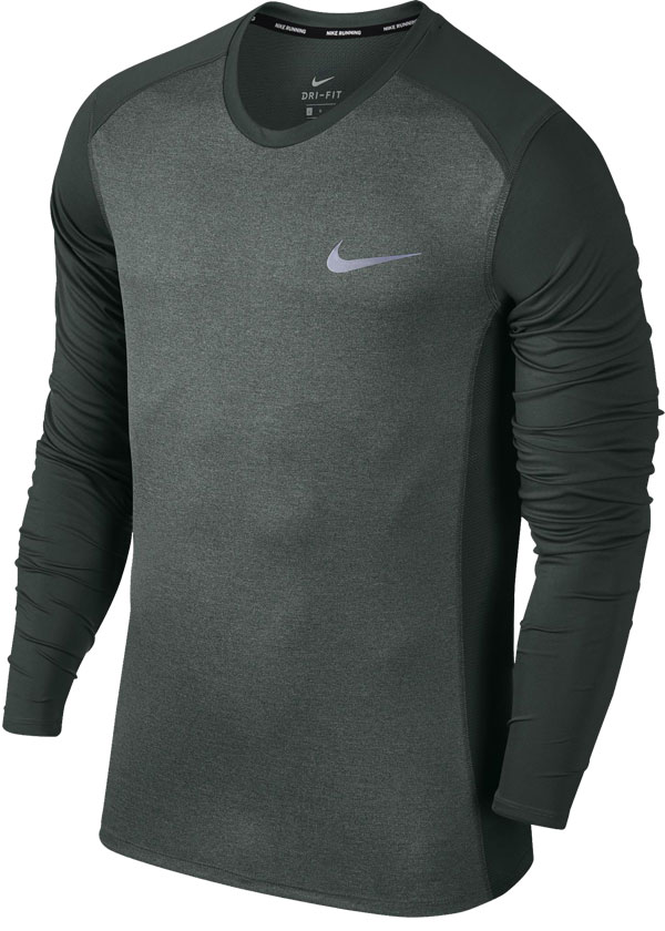 Camisa Nike Dry Miller Running Manga Longa Cinza