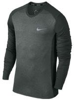 Camisa Nike Dry Miler Running Manga Longa Cinza