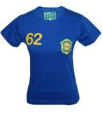 Camisa Stadio Brasil 1962 Baby Look Azul