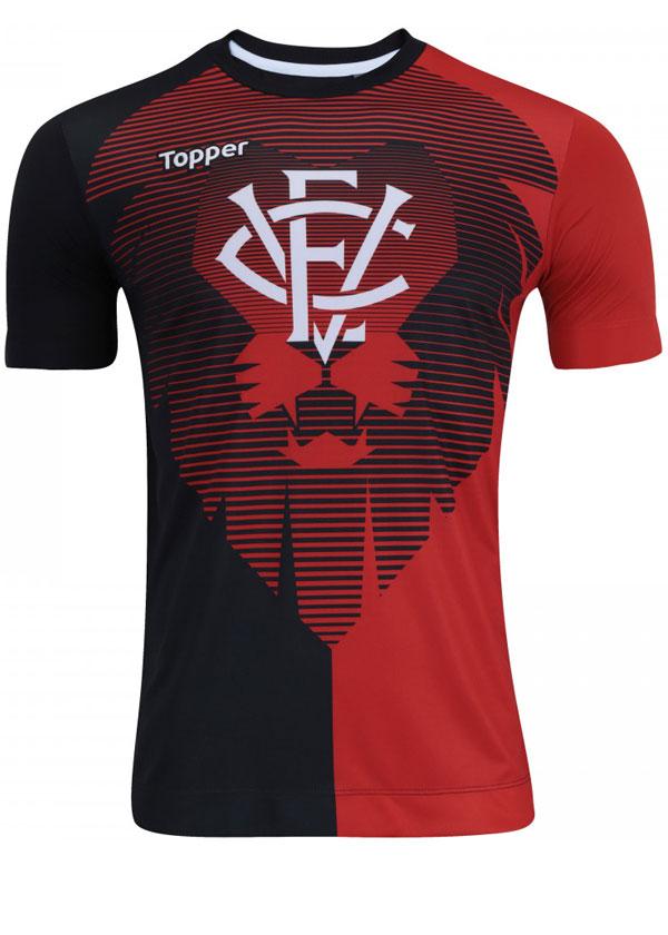 Camisa de Aquecimento Vitória 2017 Topper Vermelha e226933b82290
